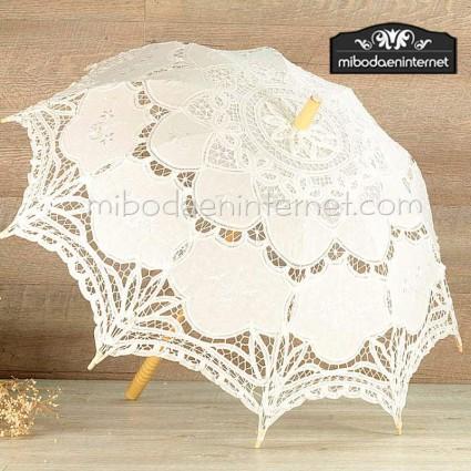 Sombrilla marfil encaje y tela novias