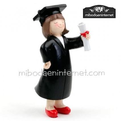 Figura Graduado niña con diploma