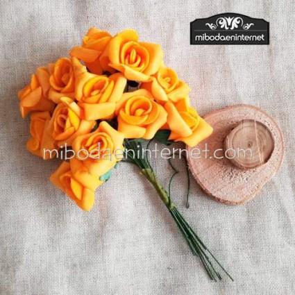 Flor Rosa foam naranja pomo de 12 ud