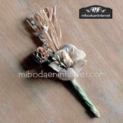 Ramillete de Flor rústica beig 9 cms