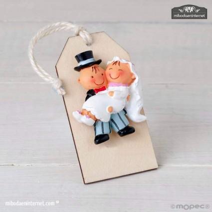 Imán Pit&Pita en brazos colgante de madera