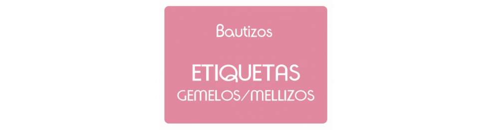 Etiquetas Bautizo Gemelos o Mellizos