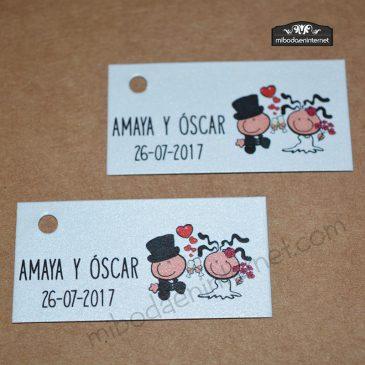 Tarjetita para detalle de boda Bubblegums para Amaya y Óscar