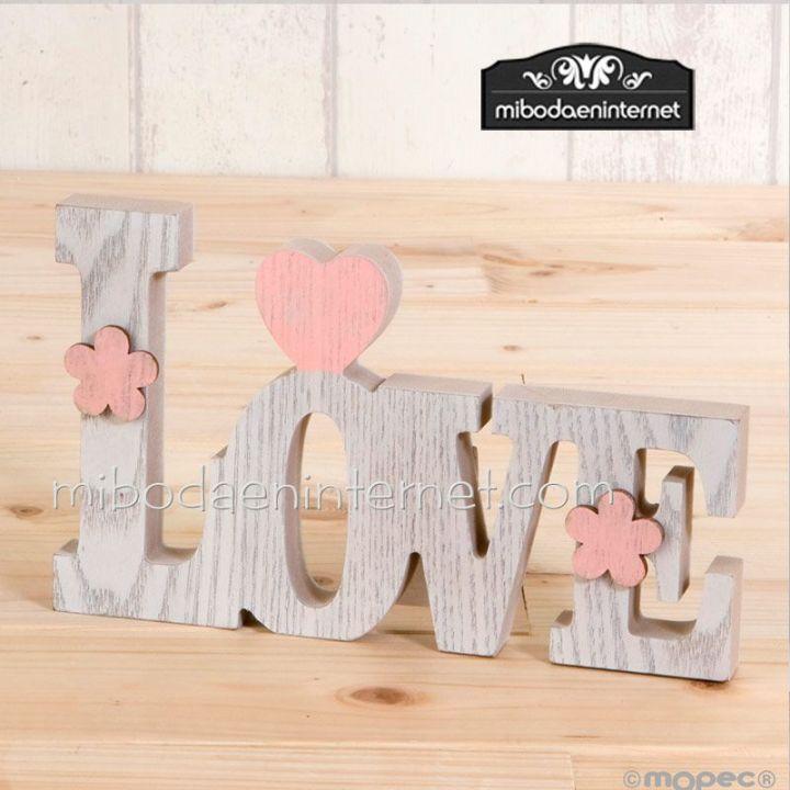 Figura Love madera blanca